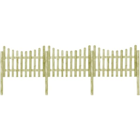 Clôture de jardin avec 4 poteaux Pin imprégné 510x120 cm