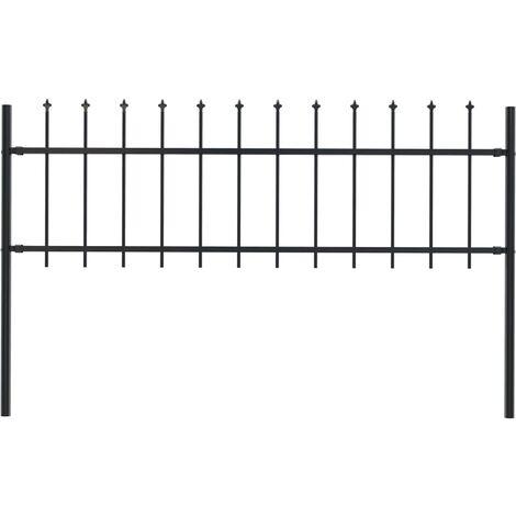 Clôture de jardin avec dessus en lance Acier 1,7 x 0,6 m Noir