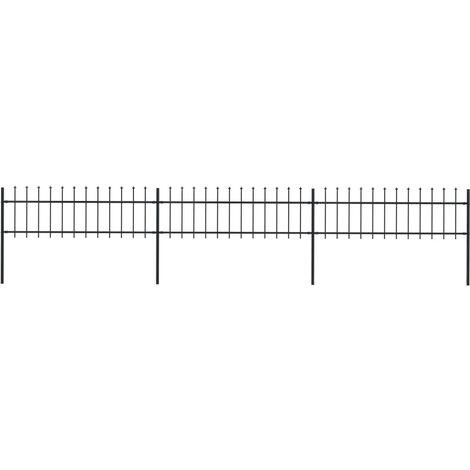 Clôture de jardin avec dessus en lance Acier 5,1 x 0,6 m Noir