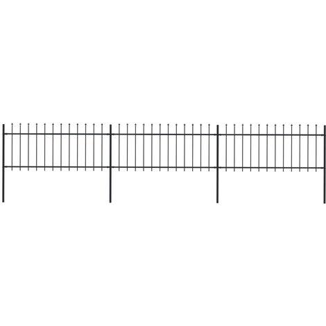 Clôture de jardin avec dessus en lance Acier 5,1 x 0,8 m Noir