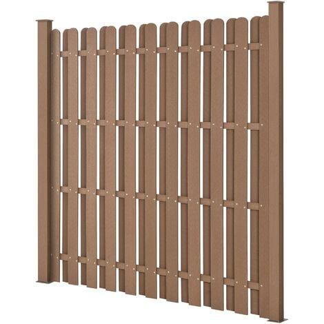 """main image of """"Clôture de jardin brise vent brise vue bois composite (wpc) brun 185 x 193 cm - Marron"""""""
