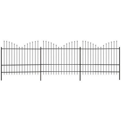 Clôture de jardin Dessus lance inversé Acier (1,75-2)x6m Noir