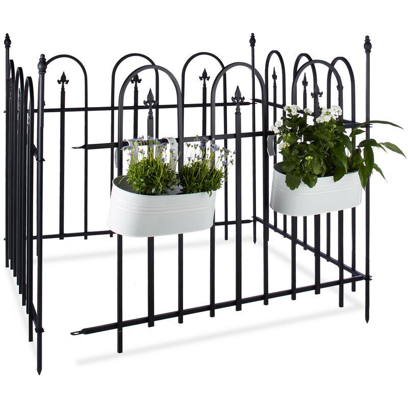 Clôture de jardin en métal lot de 4 en fer forgé jardin terrasse bordure  poteau 4,8 m 90 x 120 cm anthracite noir