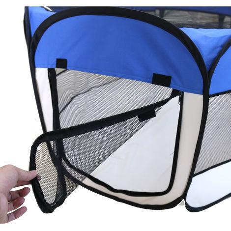 Clôture détachable amovible pour animaux de compagnie, ronde à huit côtés-bleu