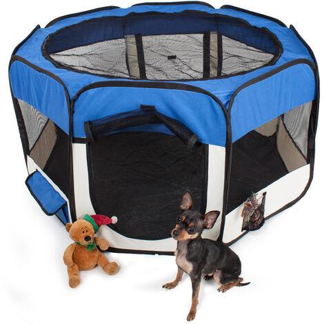 Clôture detachable amovible pour animaux de compagnie, ronde a huit côtes-bleu