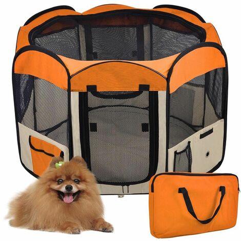 Clôture détachable amovible pour animaux de compagnie, ronde à huit côtés-Orange
