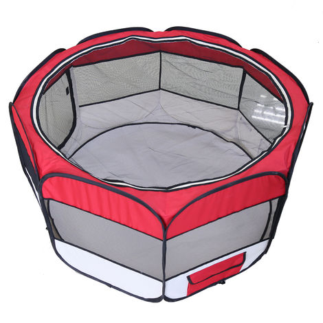 Clôture détachable amovible pour animaux de compagnie, ronde à huit côtés-rouge