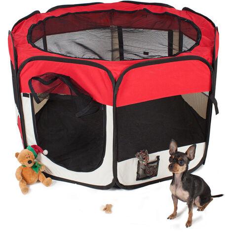 Clôture detachable amovible pour animaux de compagnie, ronde a huit côtes-rouge