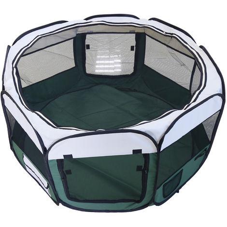 Clôture détachable amovible pour animaux de compagnie, ronde à huit côtés-vert