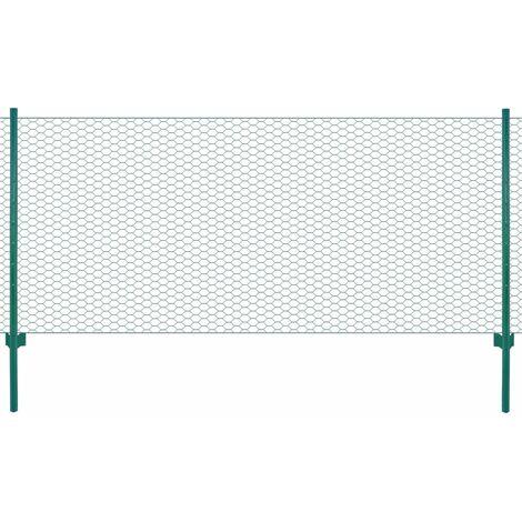 Clôture en grillage métallique avec poteaux Acier 25x0,5 m Vert