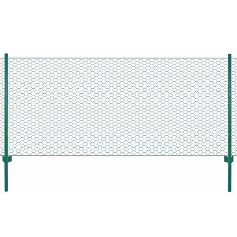Clôture en grillage métallique avec poteaux Acier 25x0,75m Vert