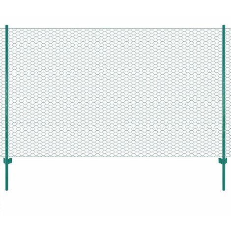 Clôture en grillage métallique avec poteaux Acier 25x1,5 m Vert