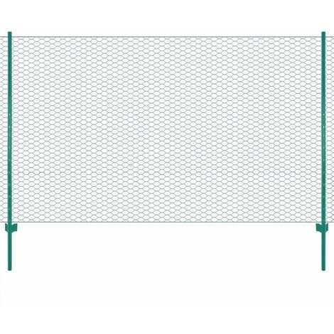 Clôture en grillage métallique avec poteaux Acier 25x2 m Vert