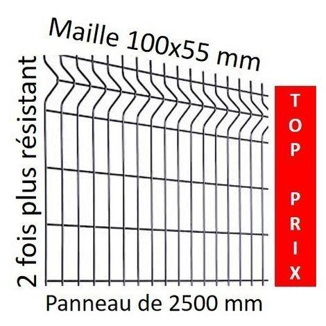 Clôture grilage rigide soudé, panneau largeur 2,5m gris