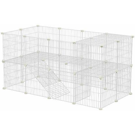 Clôture pour Animaux domestiques, 2 Niveaux, Enclos modulable, pour Petits Animaux, Hamsters, Lapins, Cochon d'Inde, Panneaux grillagés, Usage intérieur, 143 x 73 x 71 cm, Blanc/Noir