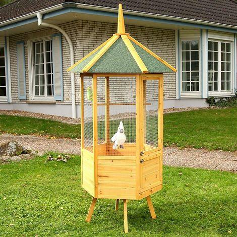 Clôture Volière Cage En Bois Pour Les Oiseaux Xxl 98X98X195 Cm