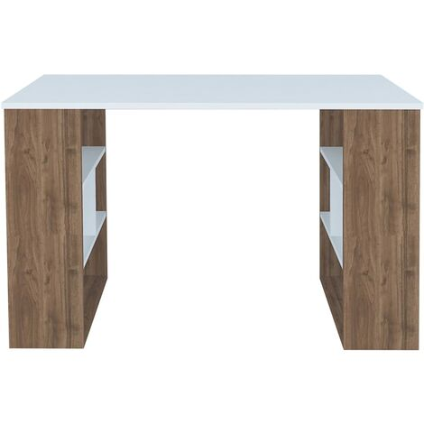 Clove Desk - with Shelves - for Office, Bedroom - Walnut, White, made in Wood, 120 x 60 x 75 cm