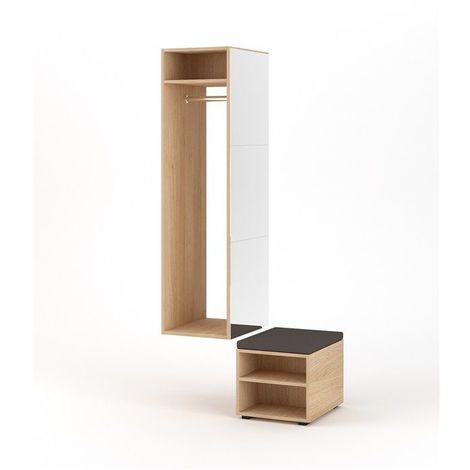 CLOVER   Meuble d'entrée avec miroir + penderie + banc   150x40x50 cm   Meuble à chaussures Vestiaire style scandinave   Blanc/Chêne