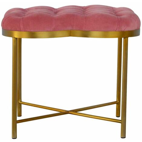 Clover Shaped Deep Button Footstool Upholstered Pink Velvet with Golden Base