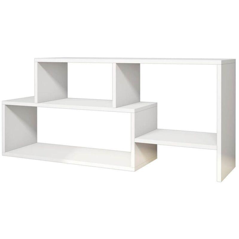 TV-Schrank Clover 121,8x29,5x53,8 cm Weiß - Homemania