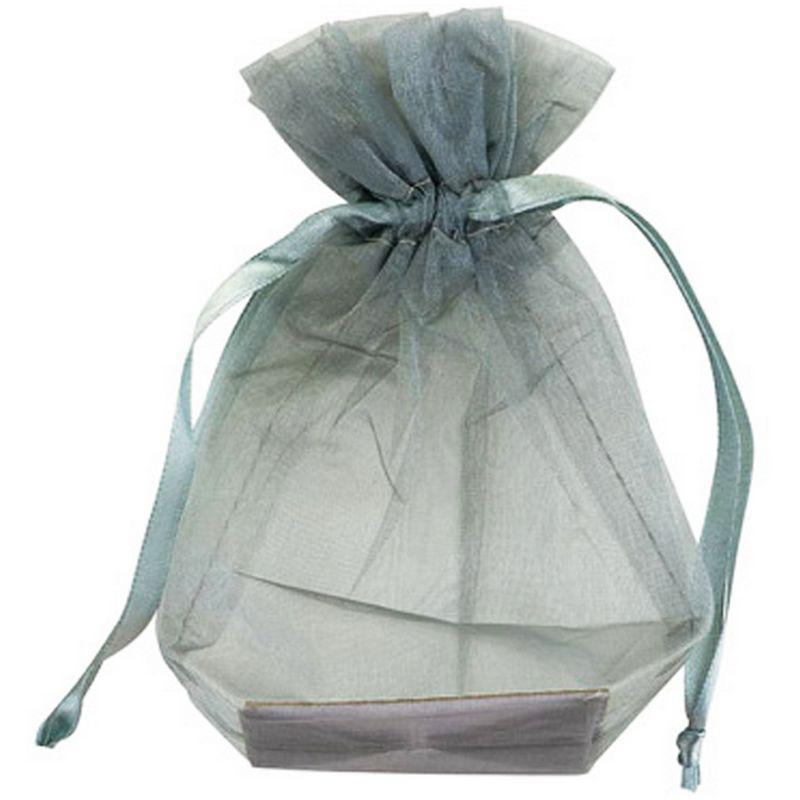 Image of Medium Organza Wedding Pouch (Pack Of 10) (Medium) (Silver) - Club Green