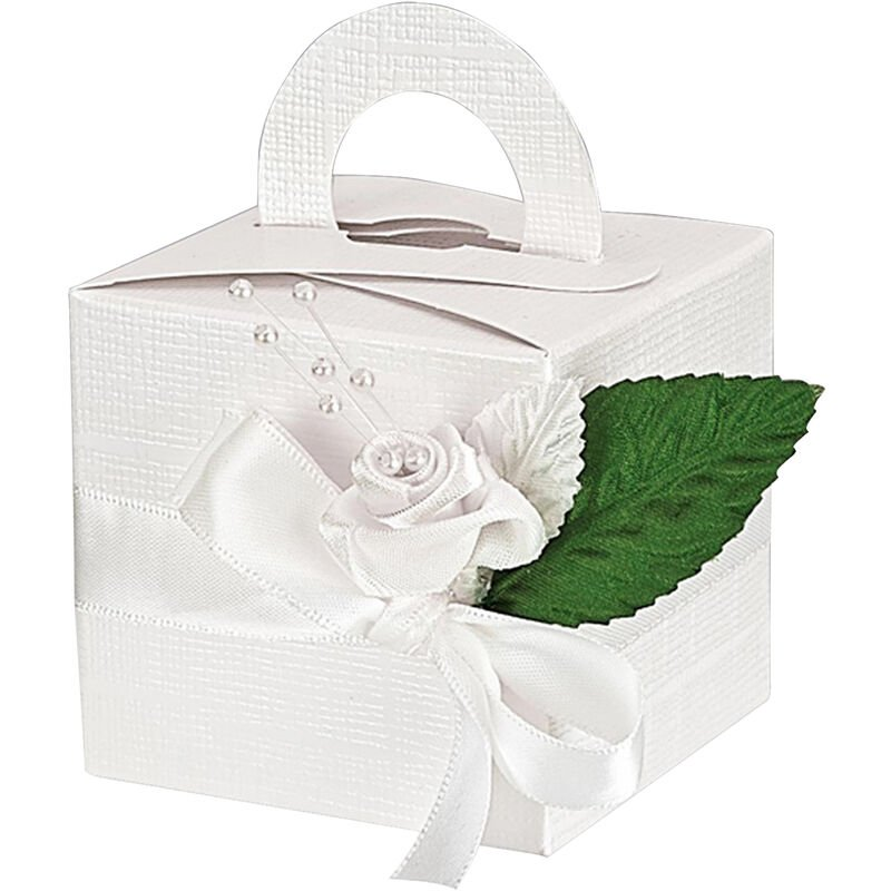 Image of Silk Square Box With Handle (Pack Of 10) (One Size) (White) - Club Green