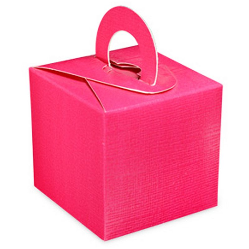 Image of Square Gift Box With Carry Handle (Pack Of 10) (One Size) (Fuchsia) - Club Green