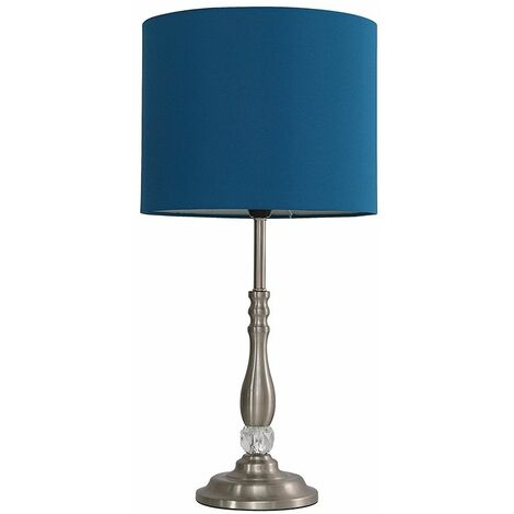 Clyde Touch table Lamp in Brushed Chrome + LED Bulb - Blue