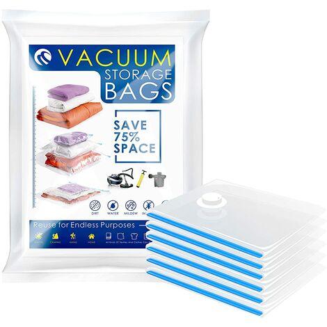 CM-564 6 Bolsas de Compresion para Ropa Reutilizables Resistente Almacenamiento al vacio (6 x 60x80 cm Grandes) contra Humedad ES