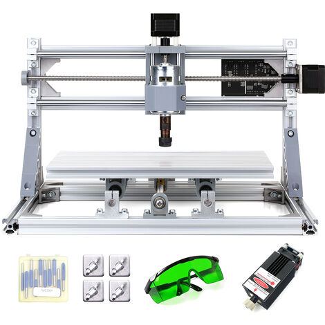 CNC3018 bricolaje CNC Router Kit de 2-en-1 mini maquina de grabado laser, para PCB de plastico de PVC de acrilico de madera maquina de grabado, con ER11 Collet y 300x180x45mm vidrios protectores area de Trabajo XYZ