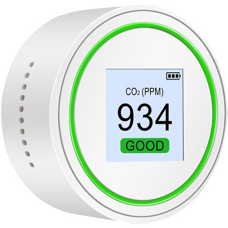 Co2 Et Tvoc Detecteur Testeur Qualite De L'Air Palm Taille Testeur Qualite De L'Air De Haute Precision Air Quality Monitor Pour Le Co2 Et Tvoc Avec Rappel Light & Sound