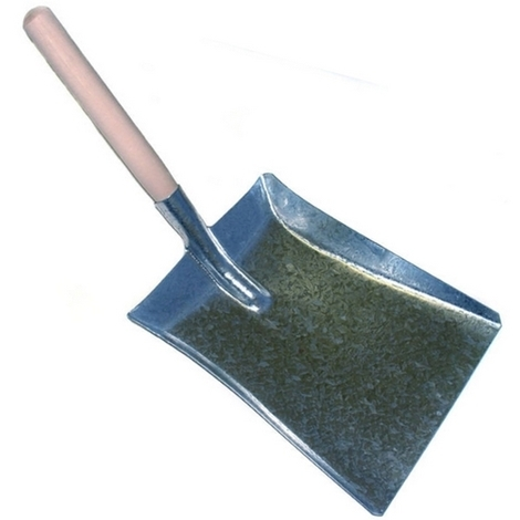 "Coal Shovel 9"" Galvanised Blade Wooden Handle Blade Made in UK"