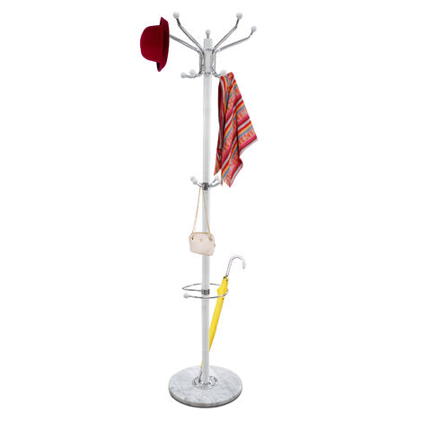 Coat and hat stand, Coat rack, White, Size: 14.5 x 14.5 x 69.3 inch