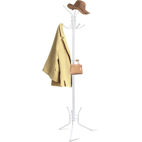 Coat and Hat Stand, Coat Rack, White, Size: 70 x 19.7 x 19.7 inch