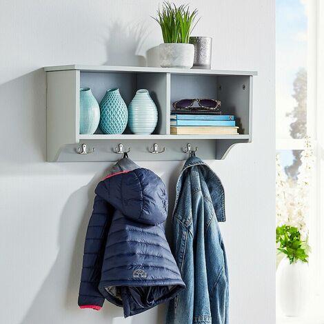 "main image of ""Coat Hook Wall Mounted Unit Grey 2 Open Shelves 4 Robe Hooks Bathroom Hallway"""