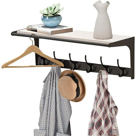 , Coat Hook with Étagère Wall Mounted Coat Hanger with 6 Hooks - 4 Colors Optional Wall Hanger (Color: White-a, size: 6 hooks)