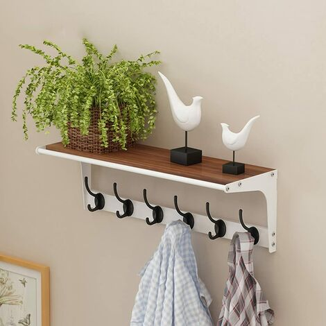 Coat Hook with Tag Wall Mounted Coat Hanger with 6 Hooks - 4 Colors Optional Wall Hanger (Color: Walnut-b, size: 6 hooks)