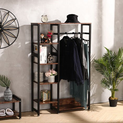 Coat Rack, 5 Shelves, Clothes Rail, Open Wardrobe for Hallway or Bedroom, HxWxD 160x90x30 cm, Black