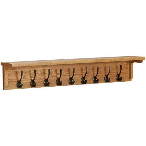 Coat Rack 90x16x16 cm Solid Oak Wood