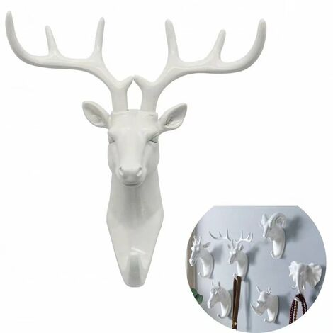 "main image of ""Coat rack and coat rack towel rack Wall-mounted crochet Key coat carrier white deer ("""