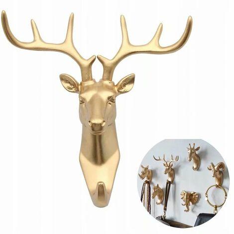 Coat rack and coat rack towel rack Wall-mounted hook Key coat carrier Golden deer (