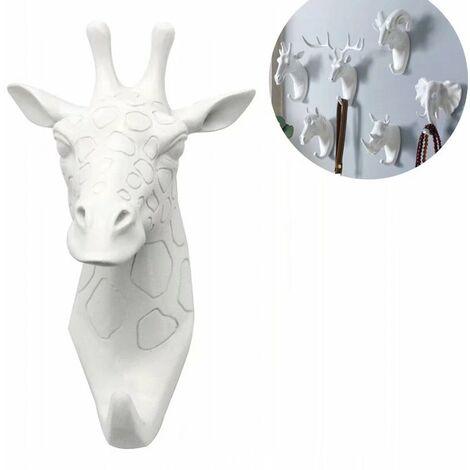 Coat rack and towel rack Wall-mounted hook Holder animal key Giraffe white (