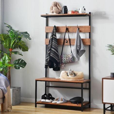 """main image of """"Coat Rack Stand, Industrial Coat Tree, Hall Tree Free Standing, Hall Shoes Rack with Removable Hooks Height 150 cm Brown"""""""