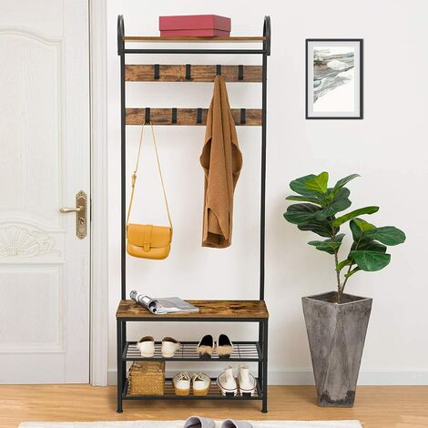 """main image of """"Coat Rack Stand, Industrial Hall Tree with 9 Adjustable Hooks and Storage Shelf, 70 x 30 x 182 cm, Entryway Storage Organizer, Metal Frame, Easy Assembly, HOOBRO EBF13MT01 - Rustic Brown"""""""