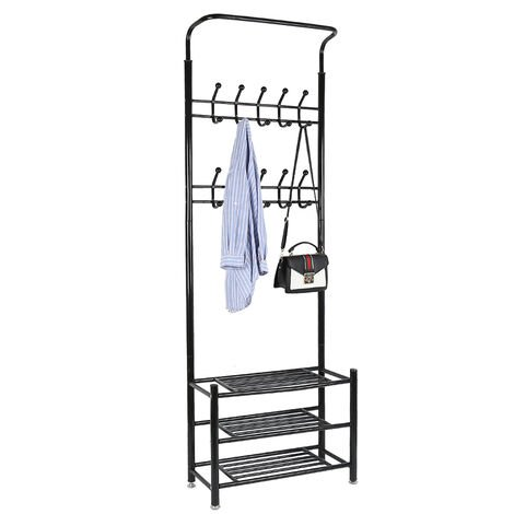 Coat rack with shoe rack - Metal and plastic - Black