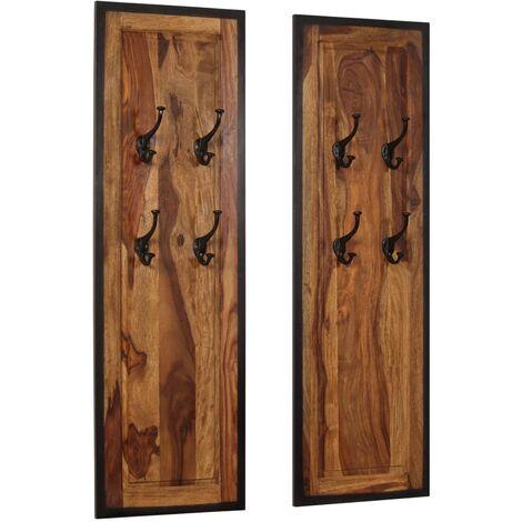 Coat Racks 2 pcs Solid Sheesham Wood