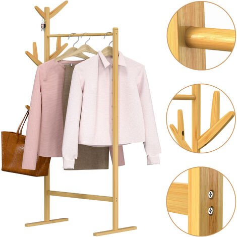Coat Stand Bamboo Clothes Rack 8 Hooks 1 Hanger Bar 164 x 66 x 40 cm Hallway Bedroom