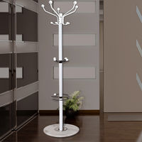 Coat Stand Deuba Umbrella Holder 4 Tier Clothes Rack Marble Base 15 Hooks Model Choice Black or White