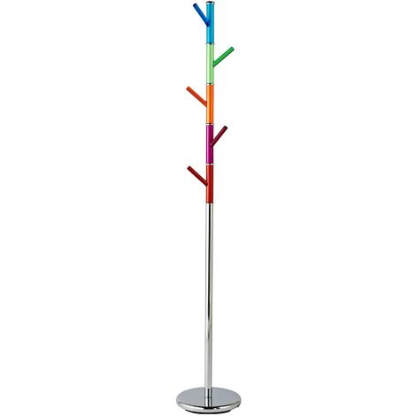 Coat Stand,Chrome Finish,Pink/Blue/Orange/Green/Red Acrylic Pegs