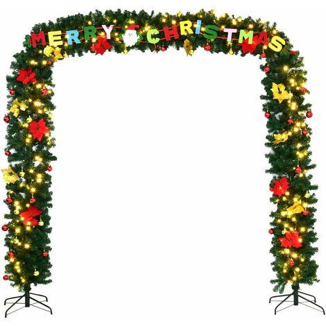 COATWAY Arche de Noël Portique Décoration de Noël Forme d'Arc pour Magasin Décoré avec Support en Fer 274x243CM